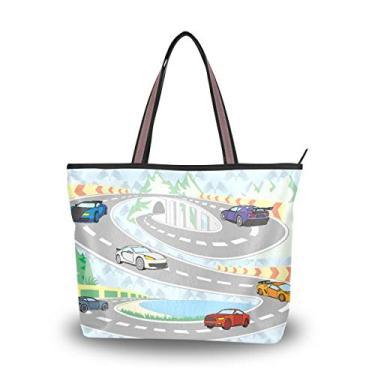 Bolsa feminina com alça superior, tema esportivo de carro, bolsa de ombro para mulheres, Multicolorido., Medium