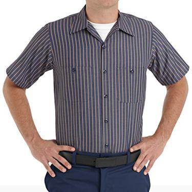 Imagem de Red Kap Camisa masculina Performance Tech 2 peças com gola forrada, Azul-marinho/listrado cáqui, M