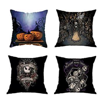 Imagem de Capa de almofada de Halloween com tema de outono preto, caveira de açúcar, abóbora, esqueleto, fogueira, festa, capa de almofada para sofá, cama, decoração de carro, 4 peças 45,7 x 45,7 cm