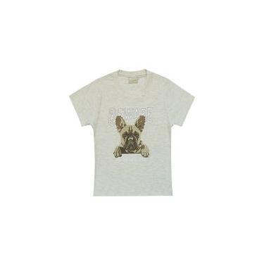 Camiseta infantil menino manga curta Milon com estampa de Cachorro na cor mescla gelo