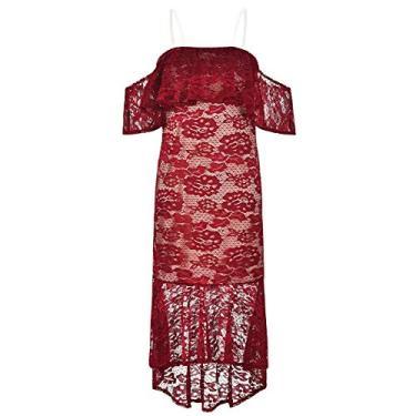 SOIMISS Vestido feminino de verão bordado bordado floral ombro longo laço vestido formal de férias para festa- tamanho L (vermelho)