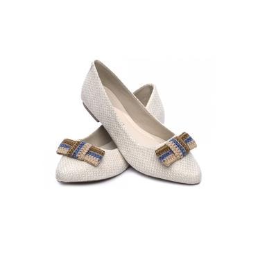 Sapatilha Feminina Torricella - Tecido Palha Off White com Laço - Bico Arredondado - Muito confortável