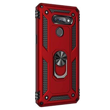 Hicaseer Capa para LG K50S, policarbonato + TPU antiqueda antichoque anti-arranhões magnético rotação de 360 graus capa completa para LG K50S – Vermelho