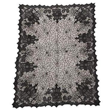 Imagem de Toalha de mesa de Halloween BESPORTBLE, retangular, preta, de teia de aranha para noites de filmes assustadoras 135 x 175 cm (preto)