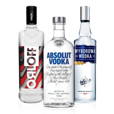Kit Vodka Absolut  750ml + Wyborowa 750ml + Orloff 1L