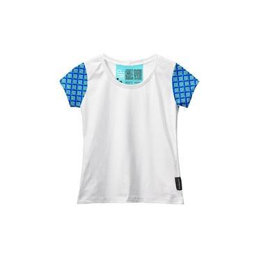 Camiseta Baby Look Feminina Algodão Estampa Manga Curta Leve Branco/Azul