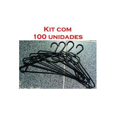 Cabide Adulto Plástico Preto - 100 Unidades - Atacado