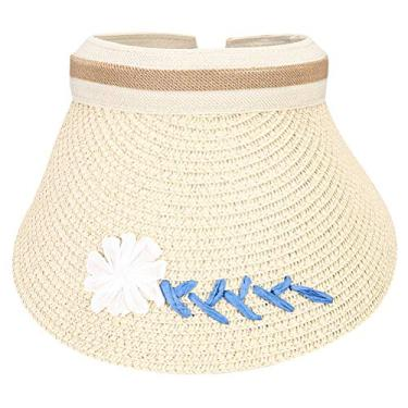 PRETYZOOM Chapéu de palha de praia vazio exclusivo chapéu de proteção solar ao ar livre estilo simples casual chapéu para o verão fora (cáqui)