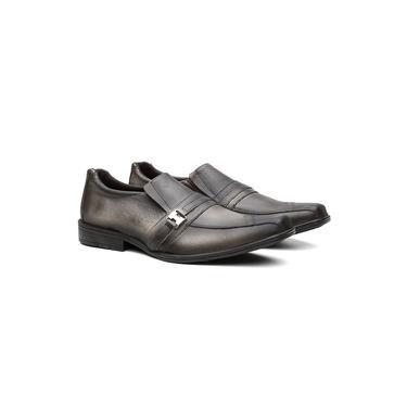 Sapato Social Masculino Couro Elástico Metal Conforto Casual Chumbo