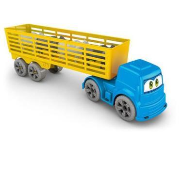 Imagem de Caminhão Boiadeiro Carreta Com Bois Fazendinha Animais - Ggb Brinquedo