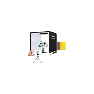 Imagem de Foto Studio Light Box 9.8 /25cm Portátil Folding Ring Light, Fotografia Shooting Light Tenda Brightness Lighting Kit Softbox com 96pcs LED Light + 12 Cores Cenário Removível