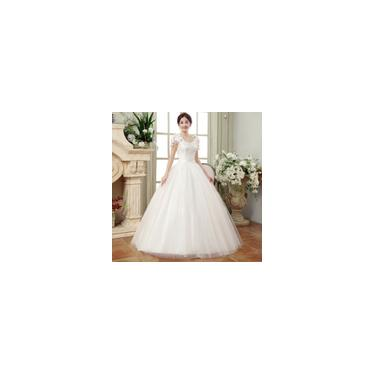 Imagem de Vestido longo branco de noiva Decote em V respirável Tamanho grande A04