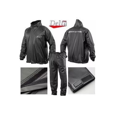 Capa Roupa Chuva Vestimenta Vestuário Jaqueta Calça Delta Flex Pvc Preta Moto Motoqueiro
