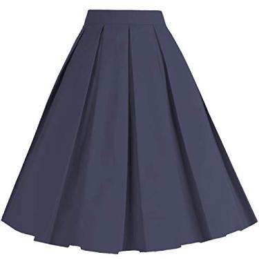 Saia midi plissada plissada evasê vintage Dressever, Azul marinho, XXL