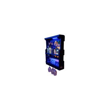 Imagem de Barzinho Chimera Adega Parede Madeira Rústico com Led azul (preto fosco)