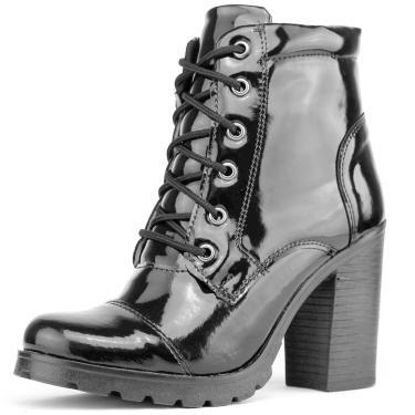 Bota Dhl Calçados Tratorada Verniz Preta  feminino