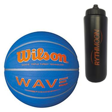 716e7aa715530 Kit Bola de Basquete Wave Phenom 7 Wilson Azul com Laranja + Squeeze  Automático 1lt