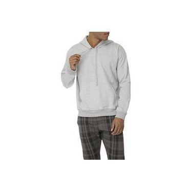 Blusa Masculina de Moletom com Capuz sem Zíper Chumbo - F+
