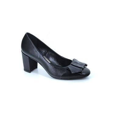Sapato Scarpin Salto Grosso Em Couro Com Laço Uza Preto 936349