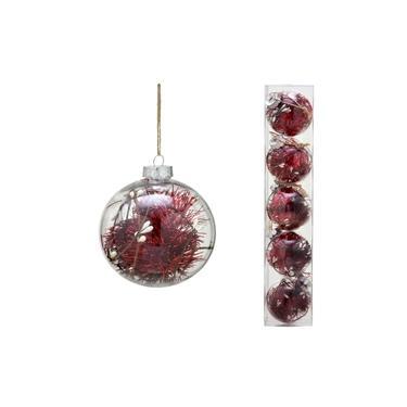 Conjunto 5 Bolas Decoradas para Árvore 8cm Transparente com Festão Vermelho Espressione Christmas