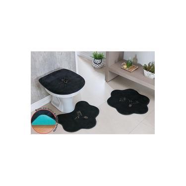 Imagem de Kit Tapete Banheiro Pelucia Preto Beija Flor Premium Antiderrapante Macio Fofo