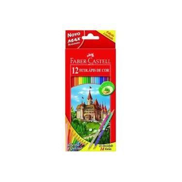 Lápis De Cor 12 Cores Hexagonal Faber Castell Com 2 Lápis Bicolor