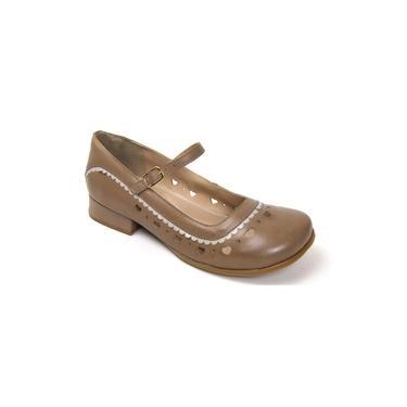 Sapato Feminino Estilo Boneca Taupe/branco