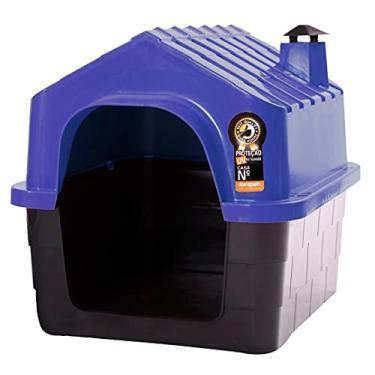 Casa Pet N1 Casinha Cães Cachorros Gatos Plástico Com Brinde Durapets Cor:Azul