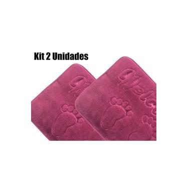 Imagem de Tapete de Banheiro Soft Memory Foam 40 x 60 cm Roxo 2 Unidades
