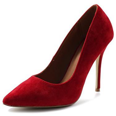 Ollio sapato feminino de camurça sintética bico fino salto alto multicolorido, Vermelho, 10
