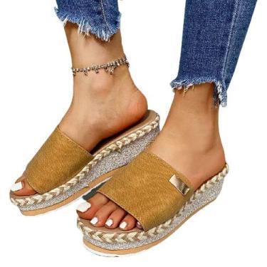 Imagem de Sandálias femininas de verão, sandálias de salto anabela, chinelos de corda de cânhamo com sola grossa, sapatos femininos modernos, sandálias femininas para uso ao ar livre (cor: amarelo, tamanho: 8)