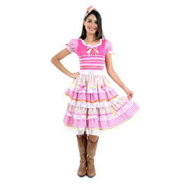 Imagem de Fantasia Vestido Junina Flores Adulto - Festa Junina PP