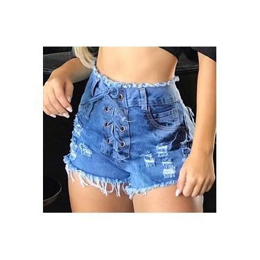 Kit 6 Shorts Jeans Feminino Cintura Alta Hot Pants Atacado Destroyed