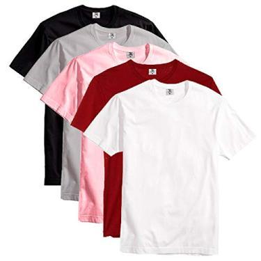Kit Com 5 Camisetas Slim Masculina Básica Algodão Part.B (Branco, Vinho, Rosa, Cinza e Preto, GG)