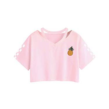 Imagem de Camiseta feminina para meninas adolescentes com estampa de rosa listrada gola V cropped top barriga camiseta venda, Rosa #4, S