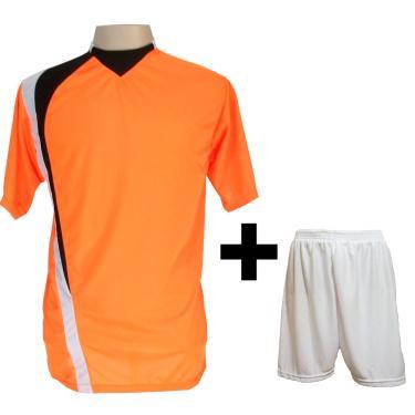 Imagem de Uniforme Esportivo Com 14 Camisas Modelo Psg Laranja/Preto/Branco + 14 Calções Modelo Madrid Branco + Brindes
