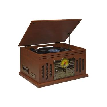 Vitrola Toca Discos Raveo Stadio Bluetooth Cassete Cd Entrada Auxiliar Radio Fm USB SD 25 Watts Bivolt Reproduz E Grava