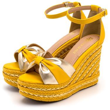 Imagem de Sandália Anabela Salto Alto Em Napa Amarelo Com Dourado Metalizado  feminino