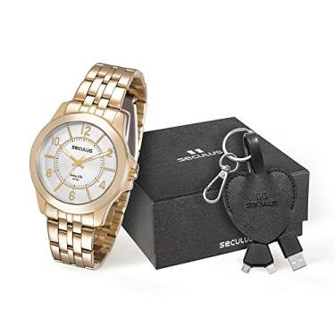 16b476490ba Kit Relógio Seculus Feminino Analógico Dourado 28788LPSVDA1K1 com Cabo de  Dados
