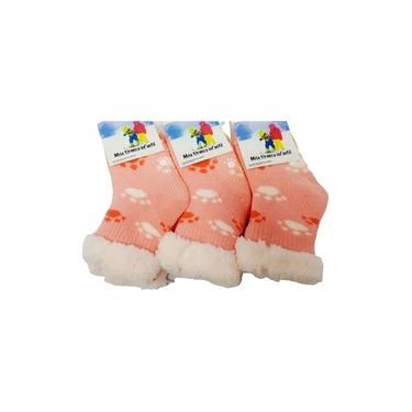 Imagem de Par Meia Térmica Bebê Infantil Menina Antiderrapante Grossa Calça 15 a 20