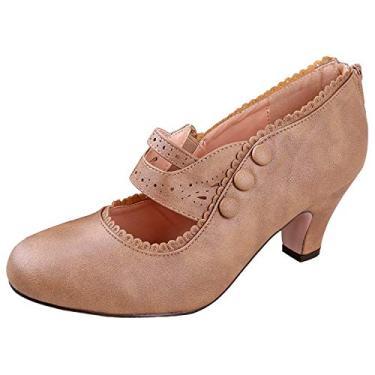 V-Luxury Sapatos femininos de salto alto Mary Jane com bico fechado 36-MINA4, Taupe, 6