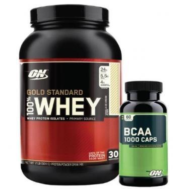 484126e09 Kit Whey Protein 100% Gold Standard - 909g Baunilha + BCAA 1000 - Optimum  Nutrition