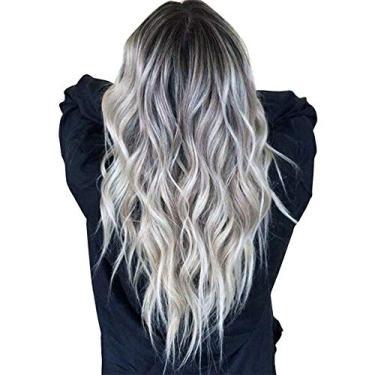 Imagem de guohanfsh Peruca feminina ondulada longa mistura cinza resistente ao calor cabelo sintético encaracolado lace frontal