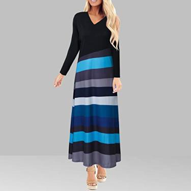Leeofty Vestido feminino plissado multicolor estampa decote em V Manga comprida Vestido feminino na altura do tornozelo vestido fashion primavera
