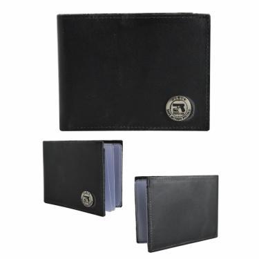 Carteira Masculina Grande Couro Legítimo Porta Cartão Documentos Preta