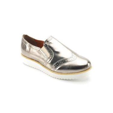 ffa1c82592 Sapato Oxford Feminino Metalizado Grafite 2302X