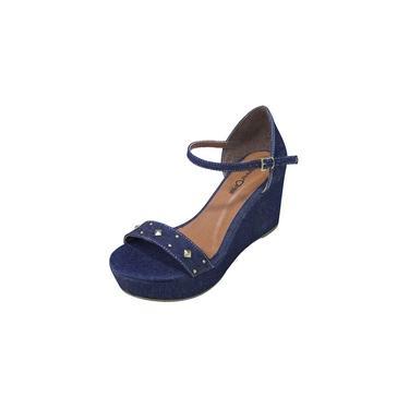 Sandália Anabela Jeans com Spike - Azul Marinho
