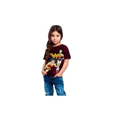 Camiseta Infantil Menina Mulher Maravilha Anime