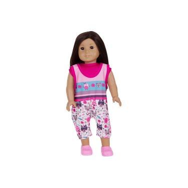 Roupa para Boneca - Kit Jardineira – Veste Bonecas tipo American Girl e Our Generation - Laço de Fita