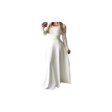 Vestido Renda Plus Size Civil Longo Casamento Noiva Festa